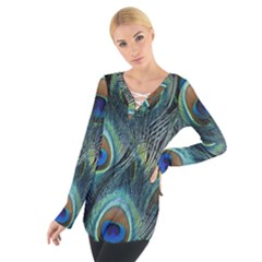 Feathers Art Peacock Sheets Patterns Women s Tie Up Tee