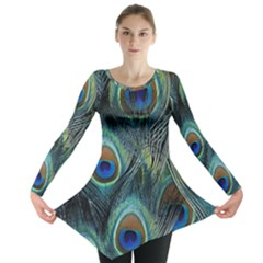 Feathers Art Peacock Sheets Patterns Long Sleeve Tunic