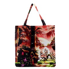 Fantasy Art Story Lodge Girl Rabbits Flowers Grocery Tote Bag