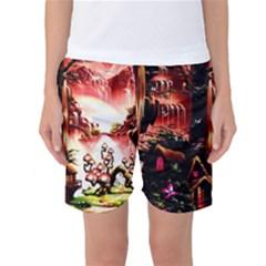 Fantasy Art Story Lodge Girl Rabbits Flowers Women s Basketball Shorts