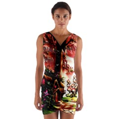 Fantasy Art Story Lodge Girl Rabbits Flowers Wrap Front Bodycon Dress