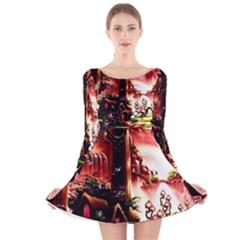 Fantasy Art Story Lodge Girl Rabbits Flowers Long Sleeve Velvet Skater Dress