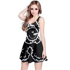 Funny Snowball Doodle Black White Reversible Sleeveless Dress