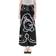 Funny Snowball Doodle Black White Maxi Skirts