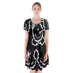 Funny Snowball Doodle Black White Short Sleeve V-neck Flare Dress