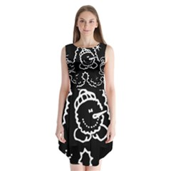 Funny Snowball Doodle Black White Sleeveless Chiffon Dress