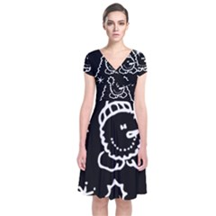 Funny Snowball Doodle Black White Short Sleeve Front Wrap Dress