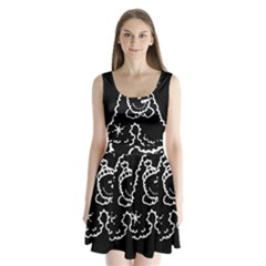 Funny Snowball Doodle Black White Split Back Mini Dress