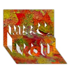 Fall Leaves Miss You 3D Greeting Card (7x5)