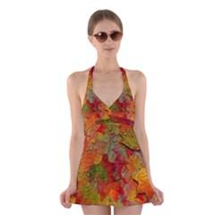Fall Leaves Halter Swimsuit Dress