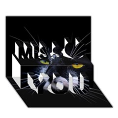 Face Black Cat Miss You 3D Greeting Card (7x5)