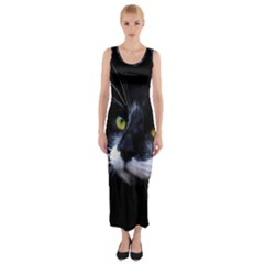 Face Black Cat Fitted Maxi Dress
