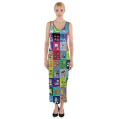 Exquisite Icons Collection Vector Fitted Maxi Dress