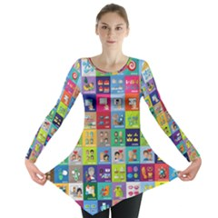 Exquisite Icons Collection Vector Long Sleeve Tunic