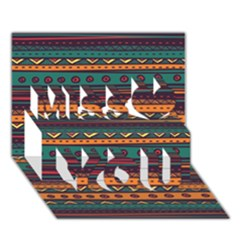 Ethnic Style Tribal Patterns Graphics Vector Miss You 3D Greeting Card (7x5)