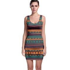 Ethnic Style Tribal Patterns Graphics Vector Sleeveless Bodycon Dress