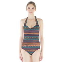 Ethnic Style Tribal Patterns Graphics Vector Halter Swimsuit
