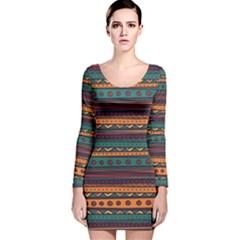 Ethnic Style Tribal Patterns Graphics Vector Long Sleeve Velvet Bodycon Dress