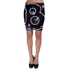 Funny Black And White Doodle Snowballs Bodycon Skirt