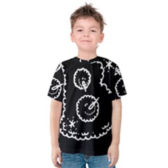 Funny Black And White Doodle Snowballs Kids  Cotton Tee