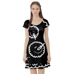 Funny Black And White Doodle Snowballs Short Sleeve Skater Dress