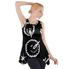 Funny Black And White Doodle Snowballs Side Drop Tank Tunic