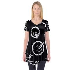 Funny Black And White Doodle Snowballs Short Sleeve Tunic