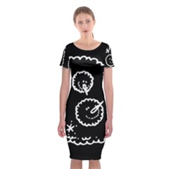 Funny Black And White Doodle Snowballs Classic Short Sleeve Midi Dress