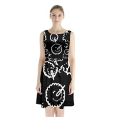 Funny Black And White Doodle Snowballs Sleeveless Chiffon Waist Tie Dress