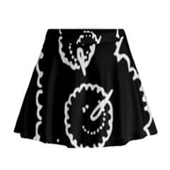 Funny Black And White Doodle Snowballs Mini Flare Skirt