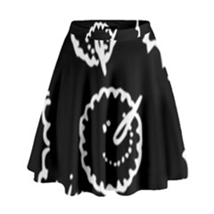 Funny Black And White Doodle Snowballs High Waist Skirt