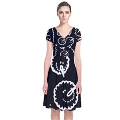 Funny Black And White Doodle Snowballs Short Sleeve Front Wrap Dress