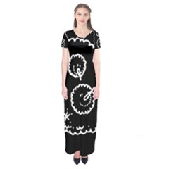 Funny Black And White Doodle Snowballs Short Sleeve Maxi Dress