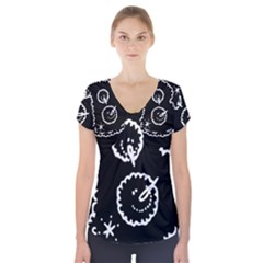 Funny Black And White Doodle Snowballs Short Sleeve Front Detail Top