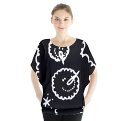 Funny Black And White Doodle Snowballs Blouse