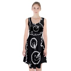 Funny Black And White Doodle Snowballs Racerback Midi Dress
