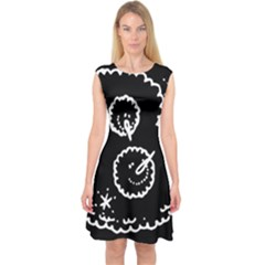 Funny Black And White Doodle Snowballs Capsleeve Midi Dress