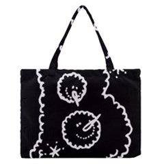 Funny Black And White Doodle Snowballs Medium Zipper Tote Bag