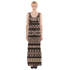 Ethnic Pattern Vector Maxi Thigh Split Dress