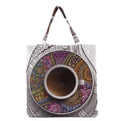 Ethnic Pattern Ornaments And Coffee Cups Vector Grocery Tote Bag