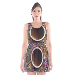 Ethnic Pattern Ornaments And Coffee Cups Vector Scoop Neck Skater Dress