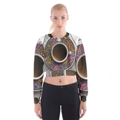 Ethnic Pattern Ornaments And Coffee Cups Vector Women s Cropped Sweatshirt