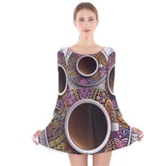 Ethnic Pattern Ornaments And Coffee Cups Vector Long Sleeve Velvet Skater Dress