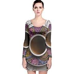Ethnic Pattern Ornaments And Coffee Cups Vector Long Sleeve Velvet Bodycon Dress
