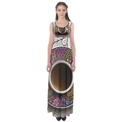 Ethnic Pattern Ornaments And Coffee Cups Vector Empire Waist Maxi Dress