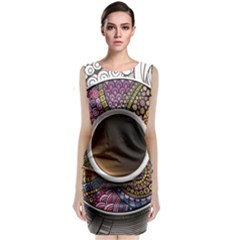 Ethnic Pattern Ornaments And Coffee Cups Vector Classic Sleeveless Midi Dress