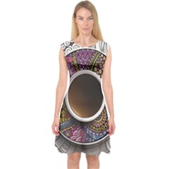 Ethnic Pattern Ornaments And Coffee Cups Vector Capsleeve Midi Dress