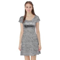 Embossed Rose Pattern Short Sleeve Skater Dress