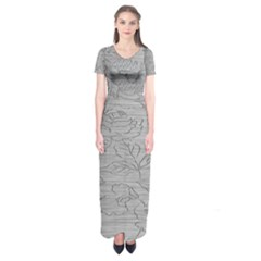 Embossed Rose Pattern Short Sleeve Maxi Dress