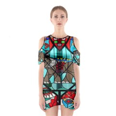 Elephant Stained Glass Cutout Shoulder Dress